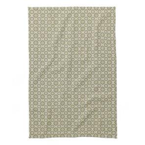 Stylish olive green Fleur de Lis repeating pattern Kitchen Towel