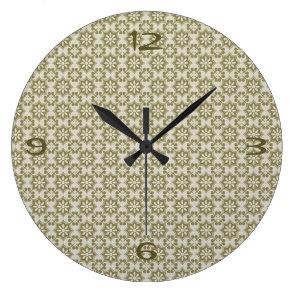 Stylish olive green Fleur de Lis repeating pattern Large Clock