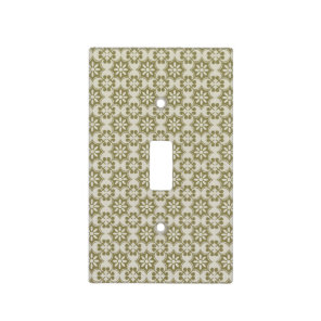 Stylish olive green Fleur de Lis repeating pattern Light Switch Cover