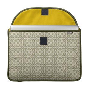 Stylish olive green Fleur de Lis repeating pattern MacBook Pro Sleeve