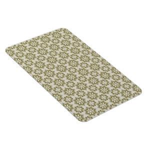 Stylish olive green Fleur de Lis repeating pattern Magnet