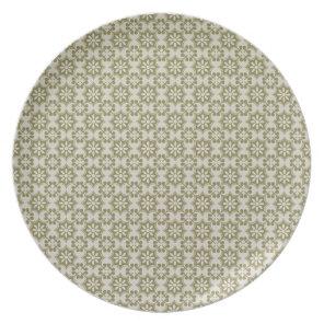 Stylish olive green Fleur de Lis repeating pattern Melamine Plate