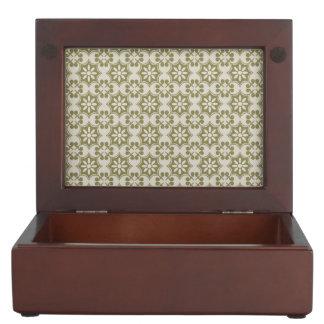 Stylish olive green Fleur de Lis repeating pattern Memory Box