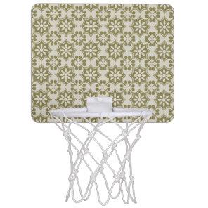 Stylish olive green Fleur de Lis repeating pattern Mini Basketball Hoop