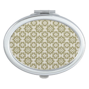 Stylish olive green Fleur de Lis repeating pattern Mirror For Makeup