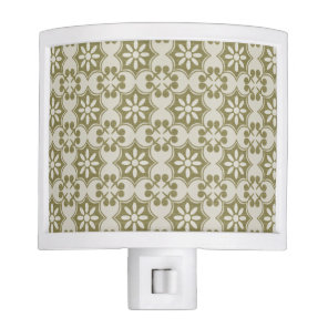 Stylish olive green Fleur de Lis repeating pattern Night Light