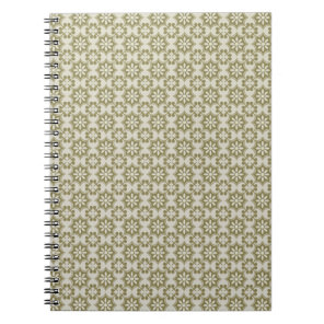 Stylish olive green Fleur de Lis repeating pattern Notebook