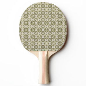 Stylish olive green Fleur de Lis repeating pattern Ping-Pong Paddle