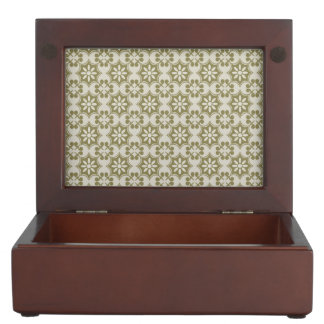Stylish olive green Fleur de Lis repeating pattern Keepsake Boxes