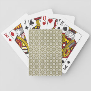 Stylish olive green Fleur de Lis repeating pattern Playing Cards