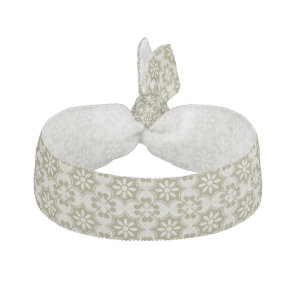 Stylish olive green Fleur de Lis repeating pattern Ribbon Hair Tie