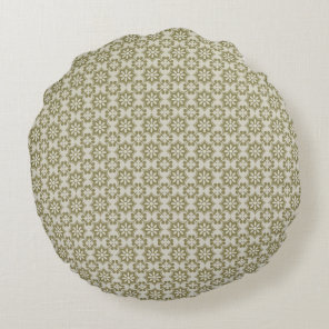 Stylish olive green Fleur de Lis repeating pattern Round Pillow