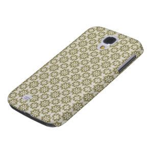 Stylish olive green Fleur de Lis repeating pattern Samsung Galaxy S4 Case
