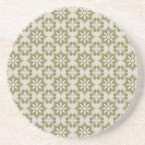 Stylish olive green Fleur de Lis repeating pattern Sandstone Coaster