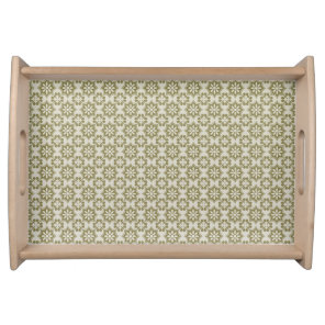 Stylish olive green Fleur de Lis repeating pattern Serving Tray