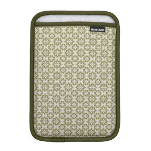 Stylish olive green Fleur de Lis repeating pattern Sleeve For iPad Mini