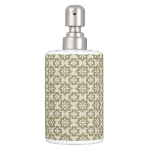 Stylish olive green Fleur de Lis repeating pattern Soap Dispenser And Toothbrush Holder