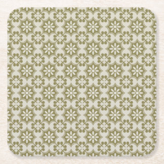 Stylish olive green Fleur de Lis repeating pattern Square Paper Coaster
