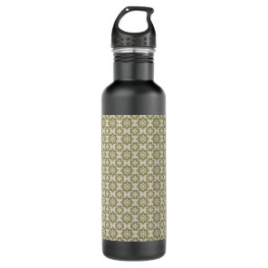 Stylish olive green Fleur de Lis repeating pattern Stainless Steel Water Bottle
