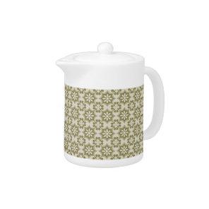 Stylish olive green Fleur de Lis repeating pattern Teapot
