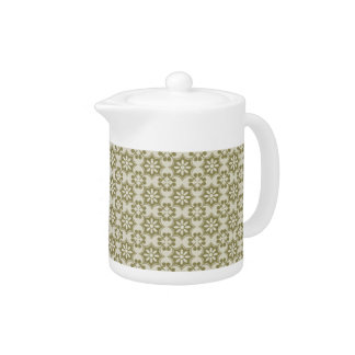 Stylish olive green Fleur de Lis repeating pattern Teapot