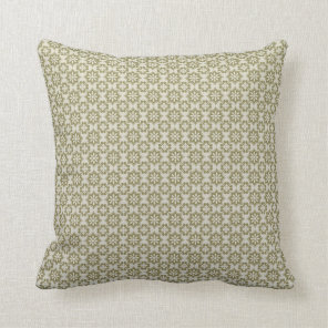 Stylish olive green Fleur de Lis repeating pattern Throw Pillow