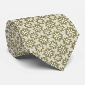 Stylish olive green Fleur de Lis repeating pattern Tie