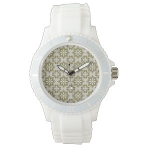 Stylish olive green Fleur de Lis repeating pattern Watch