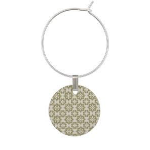 Stylish olive green Fleur de Lis repeating pattern Wine Charm
