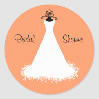 Stylish Orange Bridal Shower Envelope Seal Classic Round Sticker