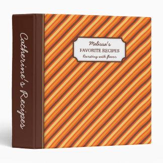 Stylish orange brown stripes personalized recipe binder