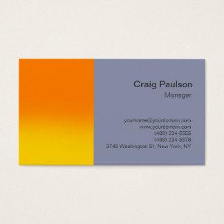 Stylish Orange Cool Grey Simple Business Card