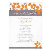 "Stylish Orange Leaf Fall Bridal Shower Invite 5"" X 7"" Invitation Card"