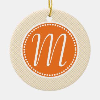Stylish Orange Pastel Lattice Monogram Ceramic Ornament