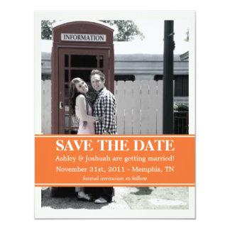 "Stylish Orange Strip Photo Save The Date Invites 4.25"" X 5.5"" Invitation Card"