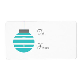 Stylish Ornament Holiday Gift Tags, Turquoise Shipping Label