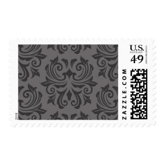 Stylish ornate dark gray damask pattern postage