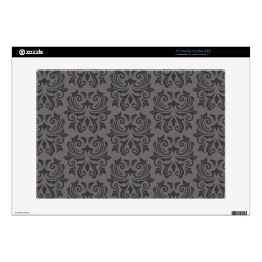 Stylish ornate dark gray damask pattern decal for laptop