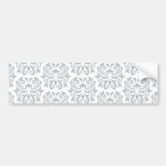 Stylish ornate light gray and white damask pattern bumper sticker