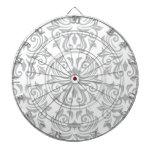 Stylish ornate light gray and white damask pattern dartboards