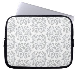 Stylish ornate light gray and white damask pattern laptop sleeve
