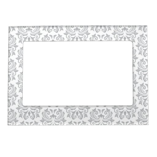 Stylish ornate light gray and white damask pattern magnetic frames