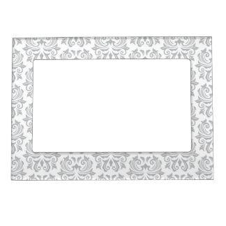 Stylish ornate light gray and white damask pattern magnetic photo frame