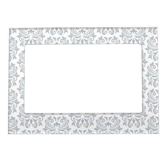 Stylish Ornate Light Gray And White Damask Pattern