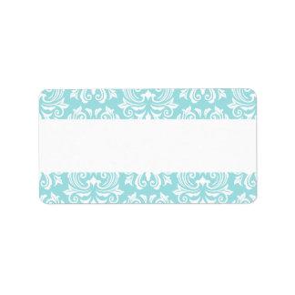 Stylish ornate pale aqua blue white damask pattern address label