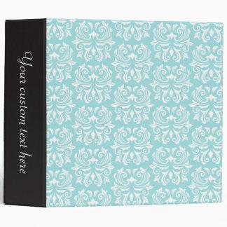 Stylish ornate pale aqua blue white damask pattern vinyl binders