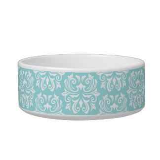 Stylish ornate pale aqua blue white damask pattern bowl