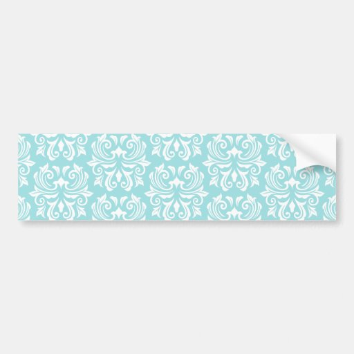 Stylish ornate pale aqua blue white damask pattern bumper sticker
