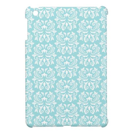 Stylish ornate pale aqua blue white damask pattern iPad mini cases