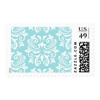 Stylish ornate pale aqua blue white damask pattern postage